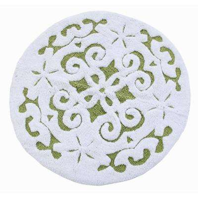 Damask 36 in. Round Cotton Sage Green/White Latex Spray Non-Skid Backing 200 GSF Machine Washable Bath Rug
