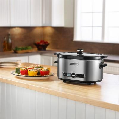 KitchenAid-6 Qt. Stainless Steel Slow Cooker with Glass Lid and Built-In Timer