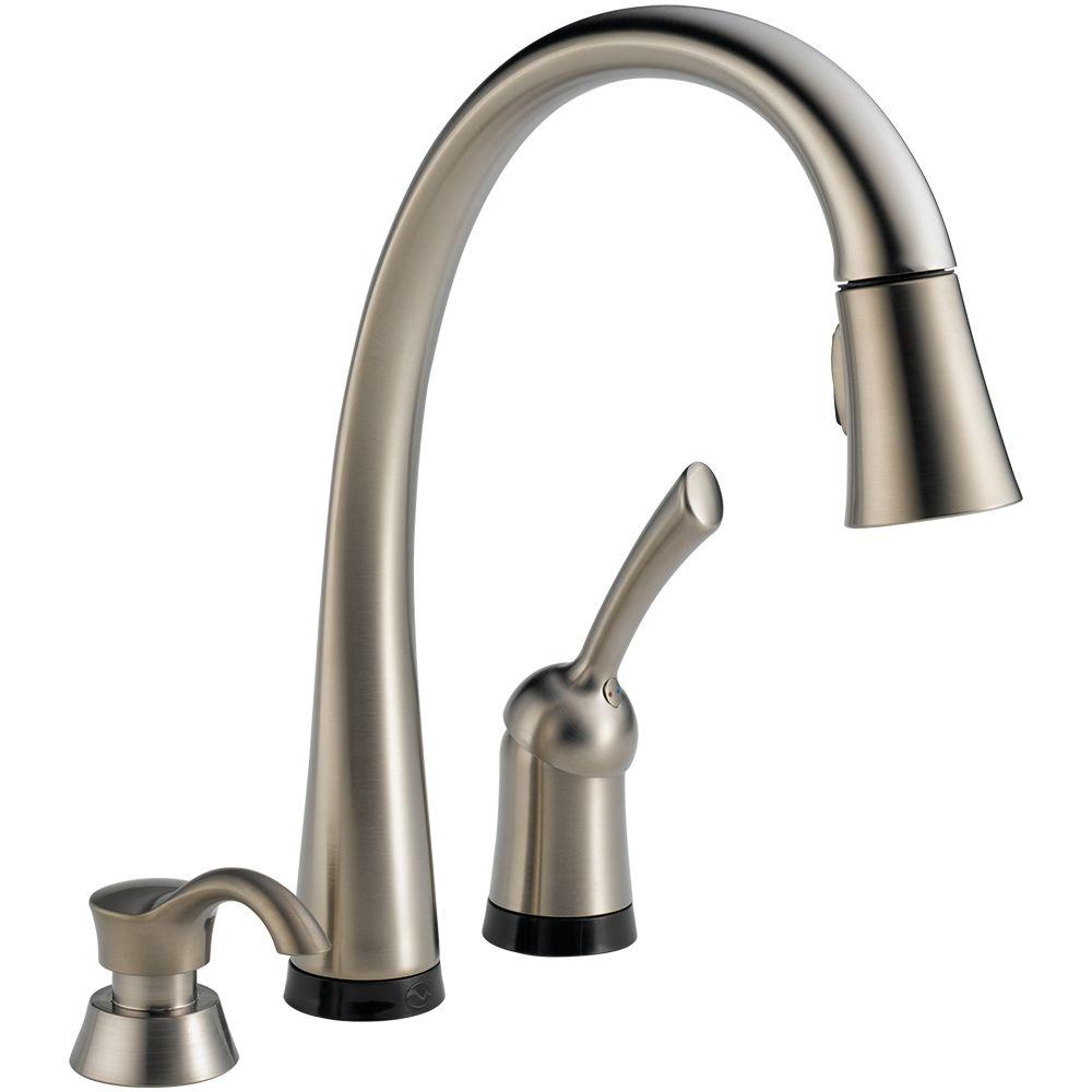 Delta Pilar Single-Handle Pull-Down Sprayer Kitchen Faucet with Soap Dispenser in Stainless Steel with Touch2O Technology