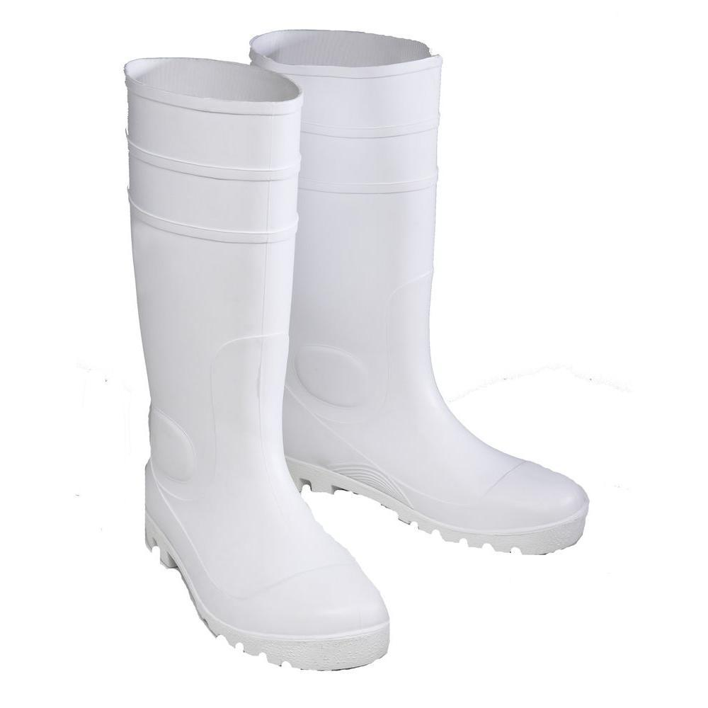 Size 10 White PVC Steel Toe Boots