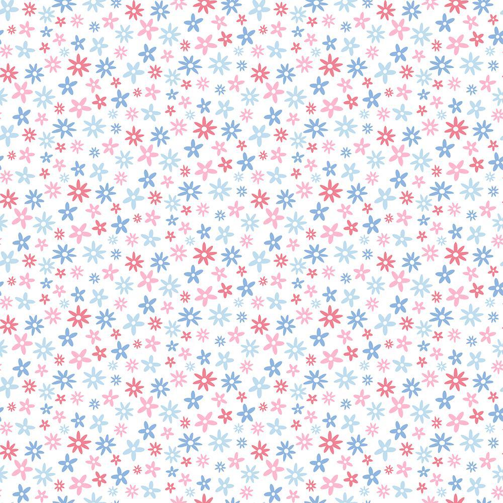 Chesapeake Delilah Blue Mod Flower Toss Wallpaper Sample