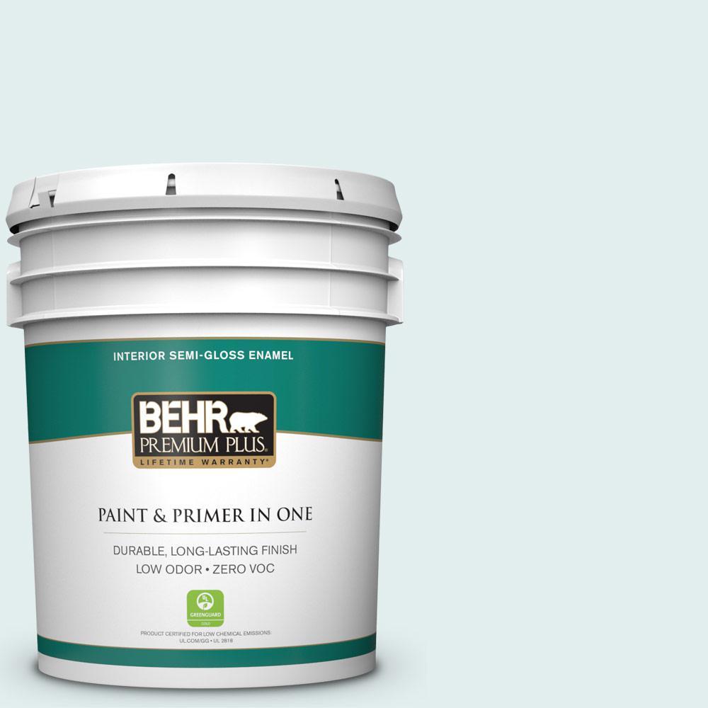 BEHR Premium Plus 5-gal. #530C-1 Club Soda Zero VOC Semi-Gloss Enamel Interior Paint