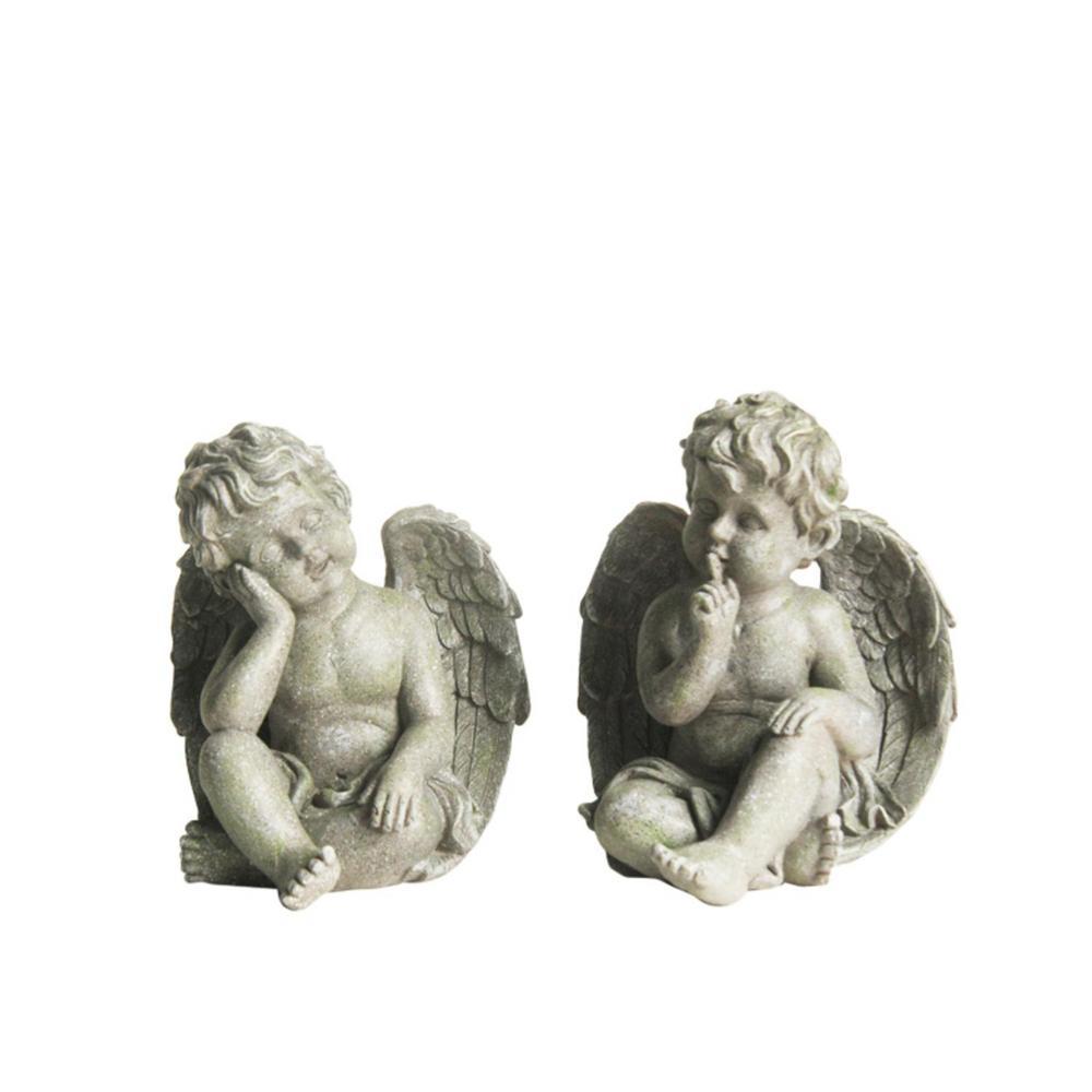 Sitting Cherub Angels Statues (Set of 2)