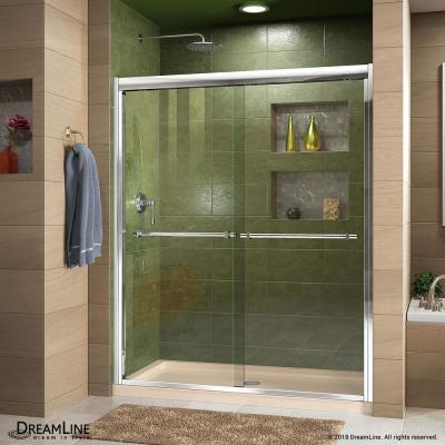 Duet 36 in. x 48 in. x 74.75 in. H Semi-Frameless Sliding Shower Door in Chrome with Center Drain Base