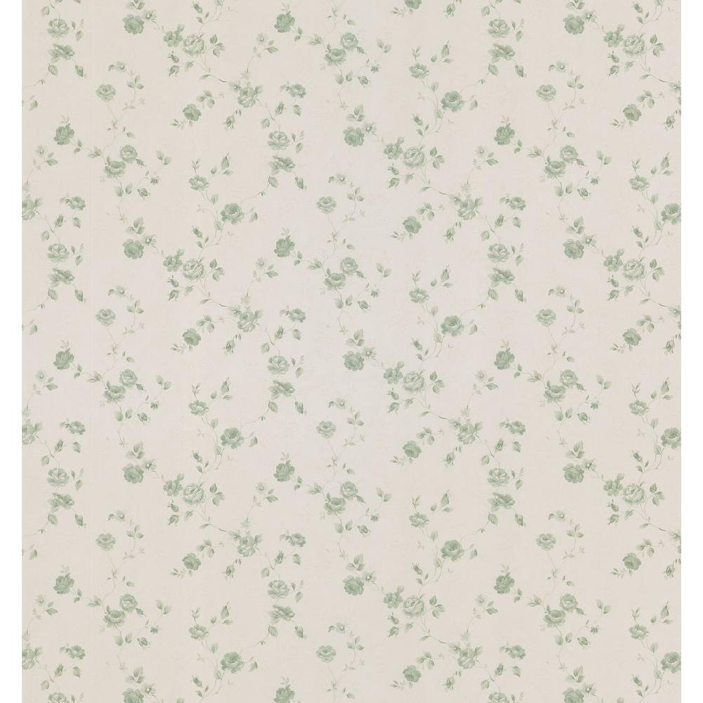Cameo Rose IV Green Small Trail Wallpaper Sample