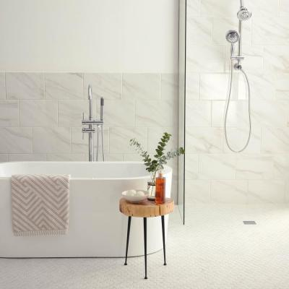 Selwyn Bianco Calacatta 3 in. x 12 in. Glazed Porcelain Bullnose Trim Tile (0.23 sq. ft./Piece)
