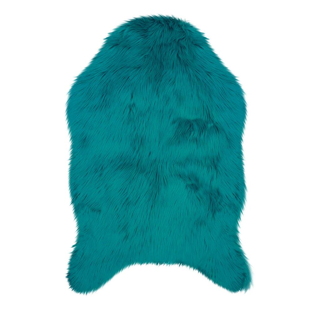 Jean Pierre Faux-Fur Teal 3 Ft. X 2 Ft. Area Rug-YMA006939