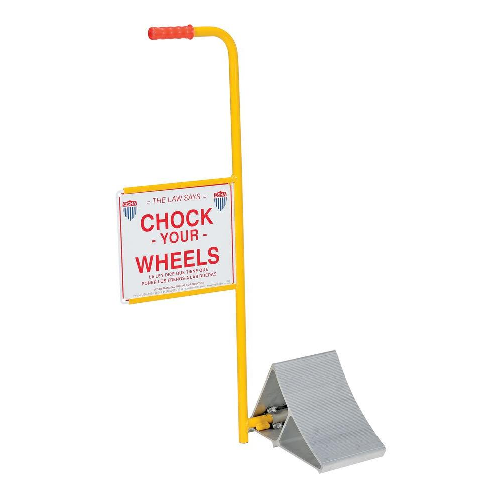 vestil aluminum wheel chock with handle and sign ealum 7 hs the