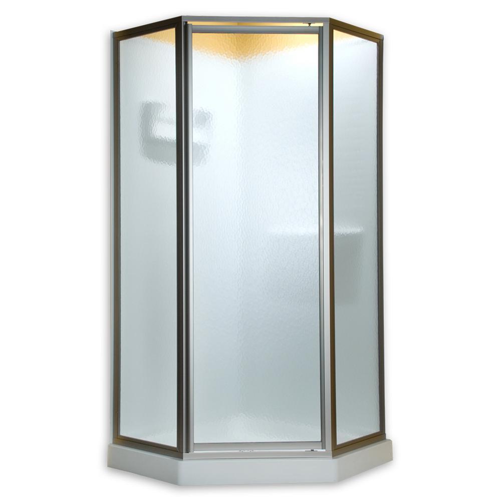 American Standard Prestige 24-1/8 in. x 68-1/2 in. Framed Neo-Angle Hinged Shower Door in Silver