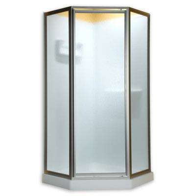 Prestige 24-1/8 in. x 68-1/2 in. Framed Neo-Angle Hinged Shower Door in Silver