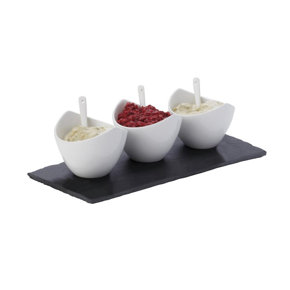 7-Piece Rectangular White Basics Slate Dipping Set