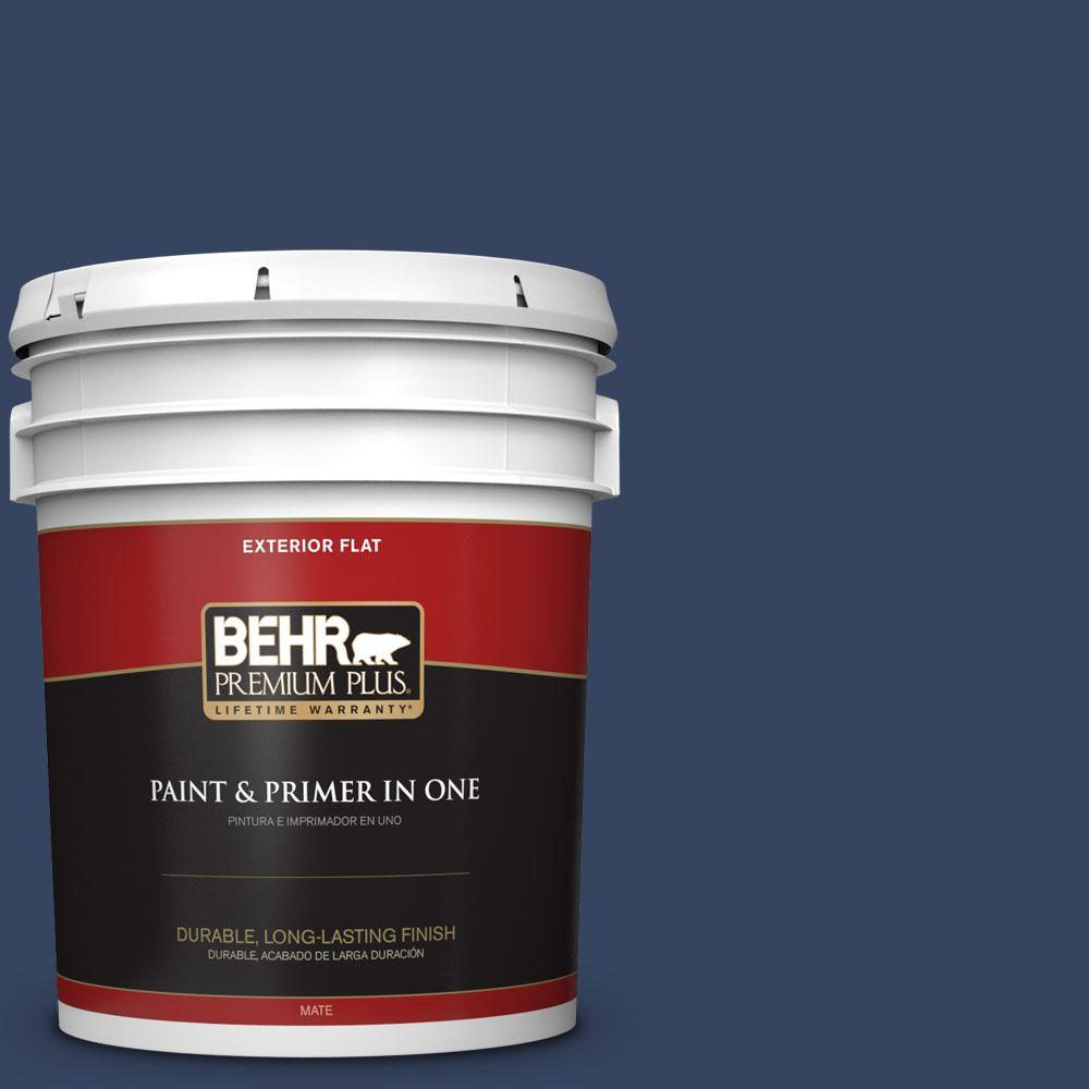 BEHR Premium Plus 5-gal. #610D-7 Night Watch Flat Exterior Paint