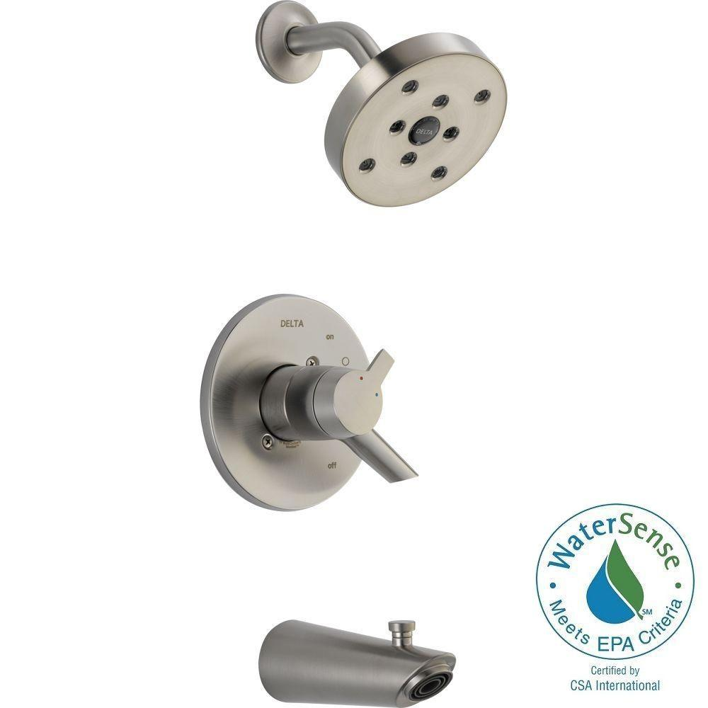 Delta Compel 1-Handle H2Okinetic Tub and Shower Faucet Trim Kit in Stainless (Valve Not Included)