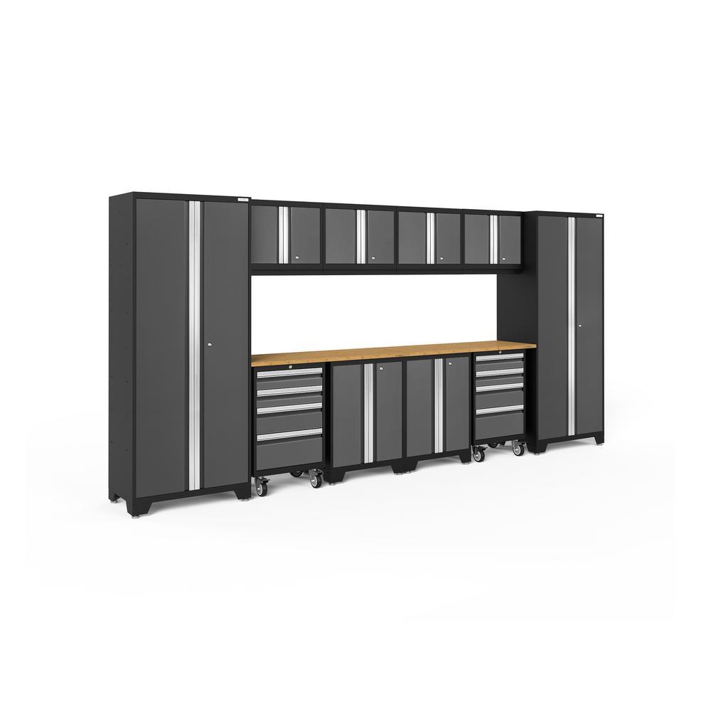 Bold 3.0 156 in. W x 75.25 in. H x 18 in. D 24-Gauge Welded Steel Bamboo Worktop Cabinet Set in Gray (12-Piece)