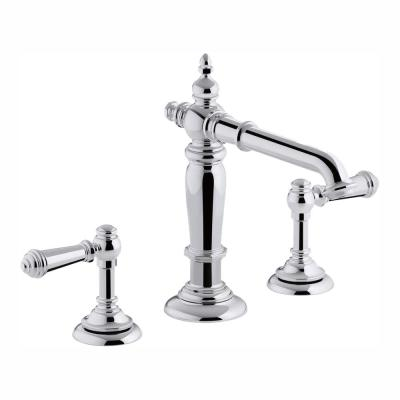 Artifacts 8 in. Widespread 2-Handle Column Design Bathroom Faucet in Polished Chrome with Lever Handles