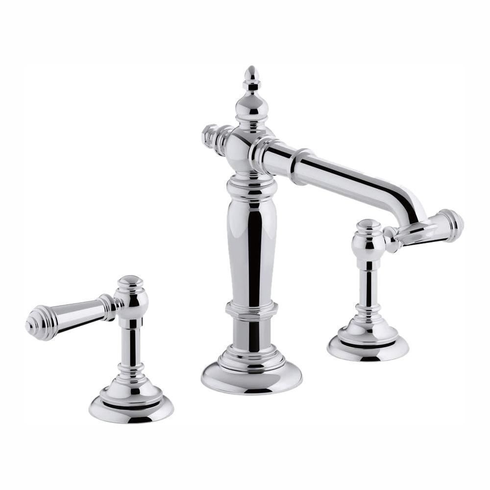 KOHLER Artifacts 8 in. Widespread 2-Handle Column Design Bathroom Faucet in  Polished Chrome with Lever Handles