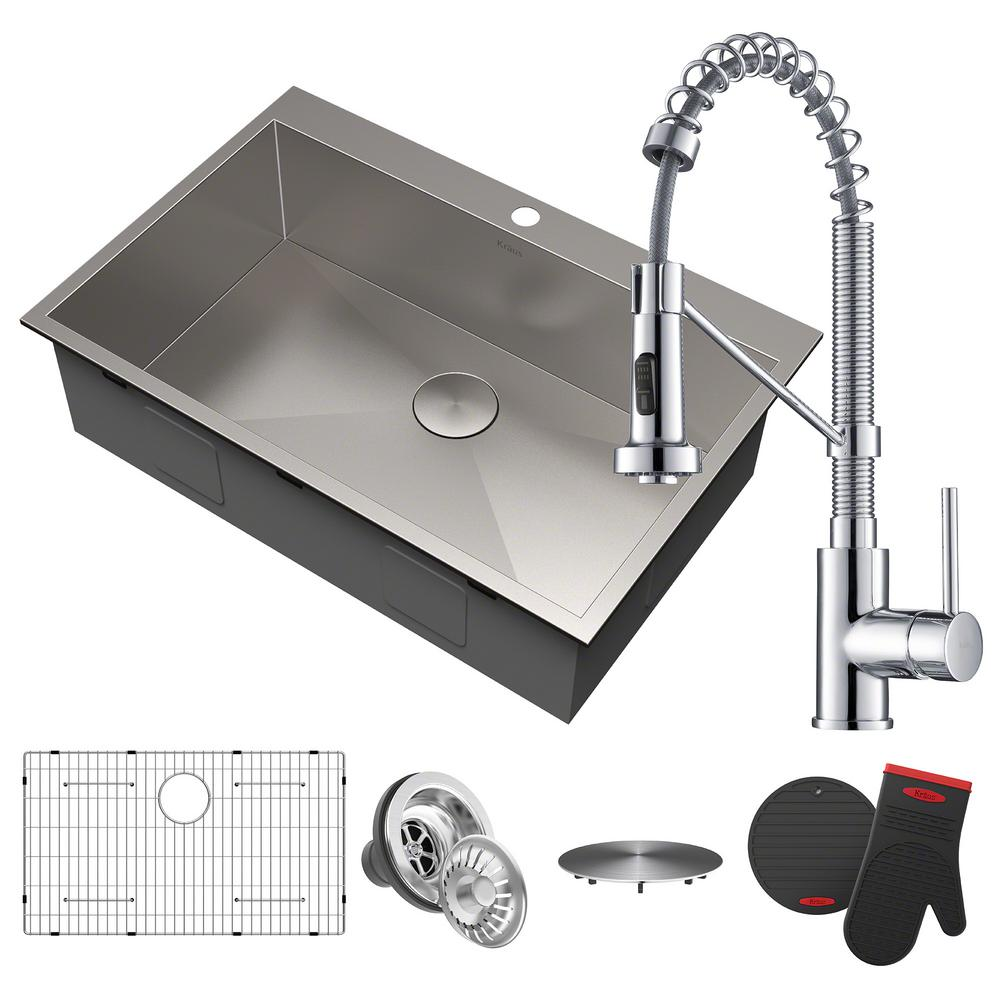 kraus pax all-in-one drop-in stainless steel 33 in. 2-hole single