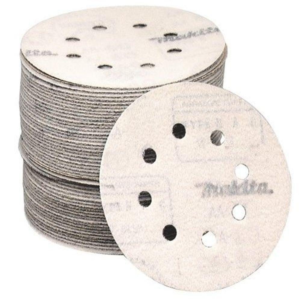 Makita 5 in. #180-Grit Hook and Loop (50-Pack) for use with Hook and Loop Orbital Sanders