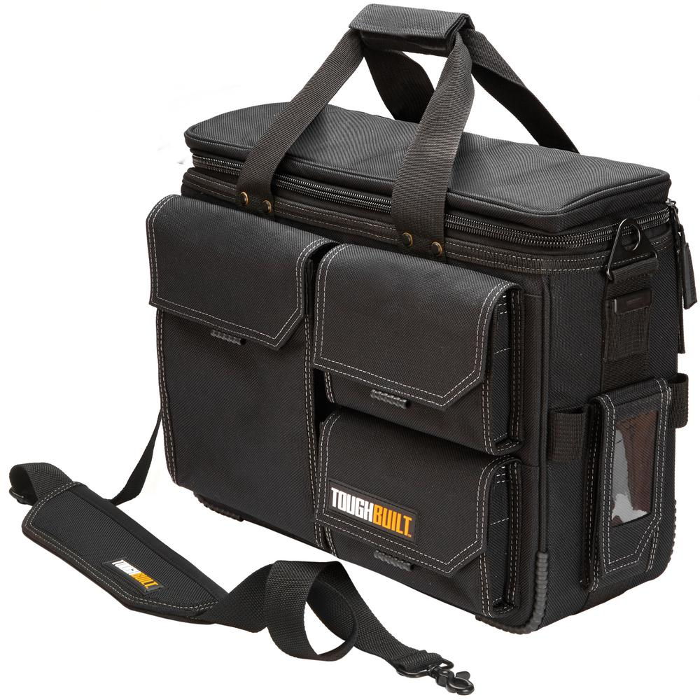 Toughbuilt 19 5 In Large Quick Access Laptop Tool Bag And Shoulder Strap Black