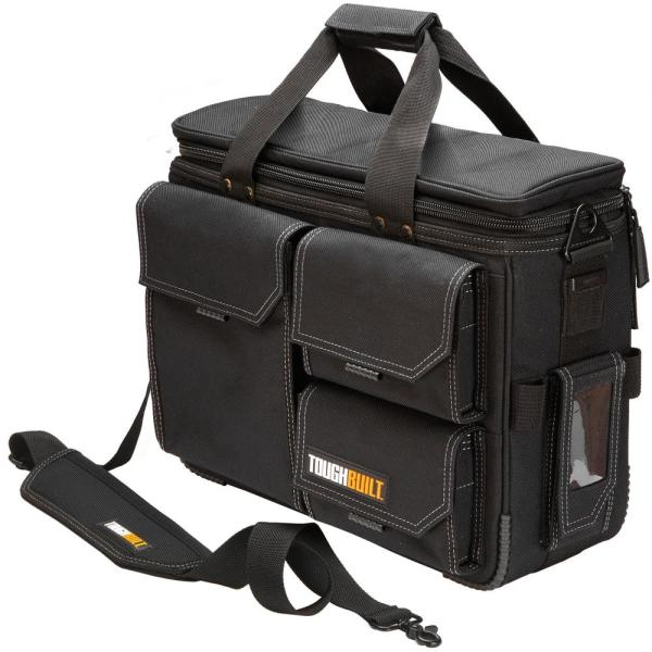 19.5 in. Large Quick Access Laptop Tool Bag and Shoulder Strap in Black