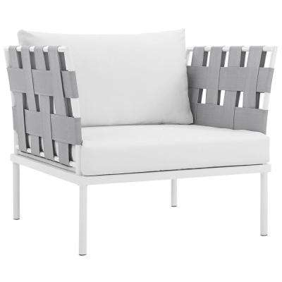 Harmony Aluminum Outdoor Patio Lounge Chair in White with White Cushions