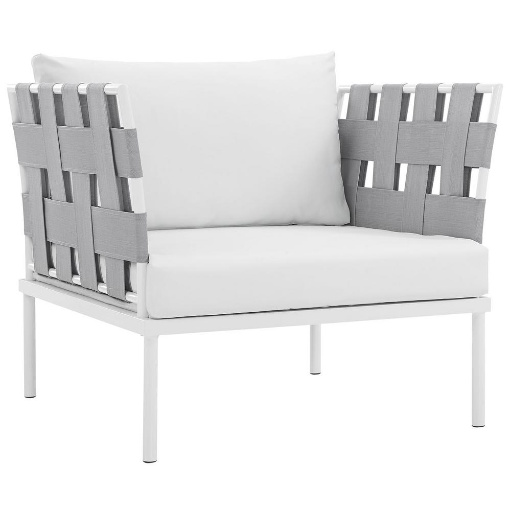 MODWAY Harmony Aluminum Outdoor Patio Lounge Chair in Whi...