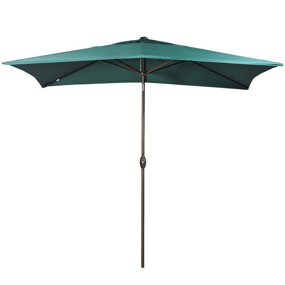 6.6 ft. x 9.8 ft. Rectangular Market Push Tilt Patio Umbrella in Dark Green