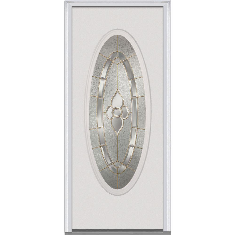 Mmi Door 30 In X 80 In Master Nouveau Left Hand Oval Lite Decorative Classic Primed Fiberglass