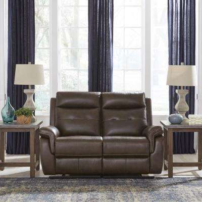 Lux Brown Leather Power Motion Reclining Love Seat