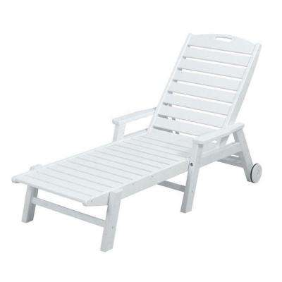 Nautical White Wheeled Plastic Outdoor Patio Chaise Lounge