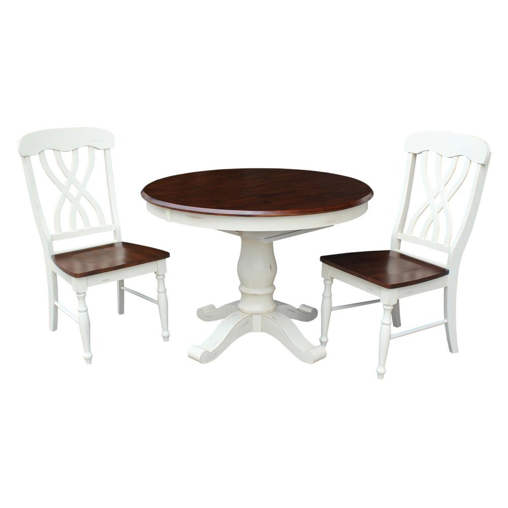 International Concepts Harbour Oval Oyster Espresso Set Latticeback Chairs
