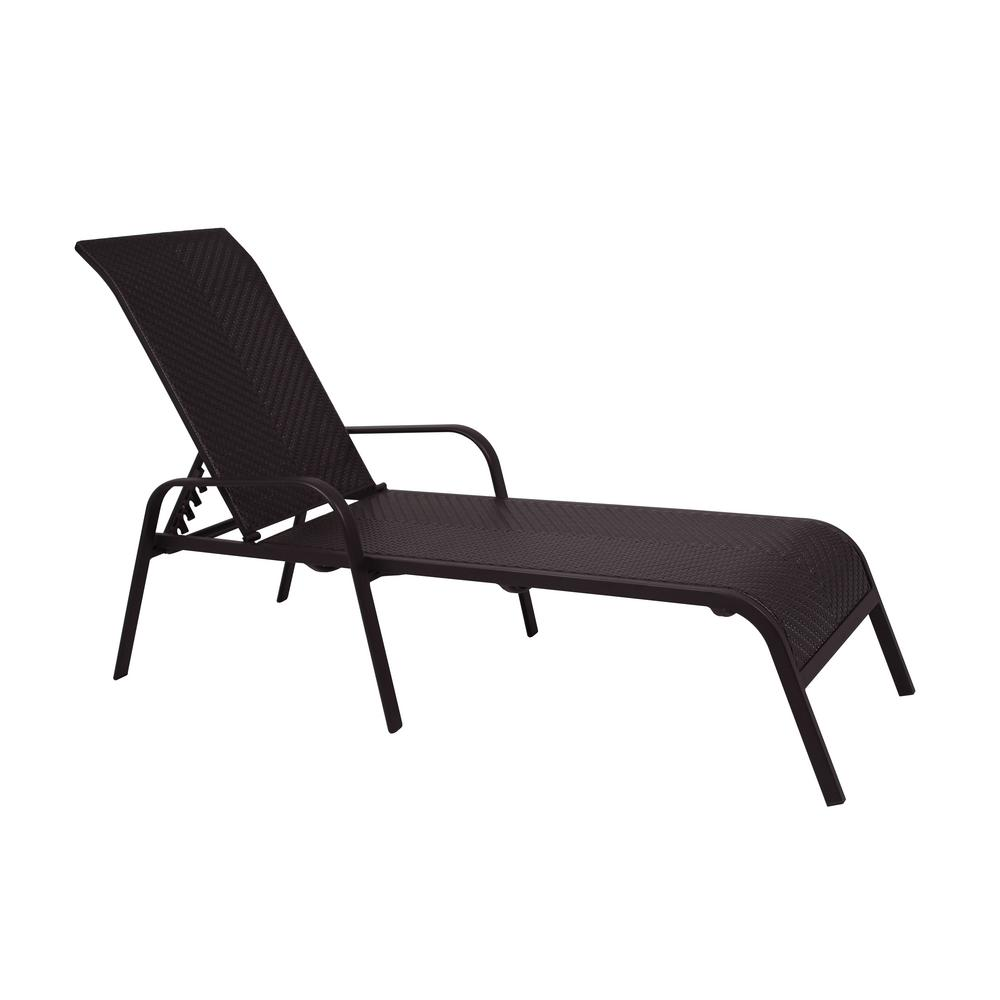 Hampton Bay Adjule Stacking Wicker Outdoor Lounge Chair