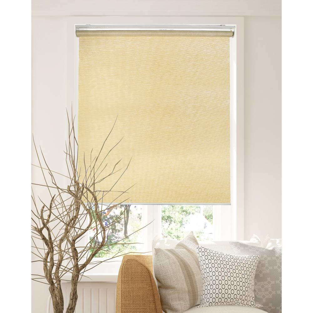 Chicology Snap-N'-Glide Felton Cream Cordless Light Filtering UV Protection Polyester Blend Roller Shade 23 in. W x 72 in. L