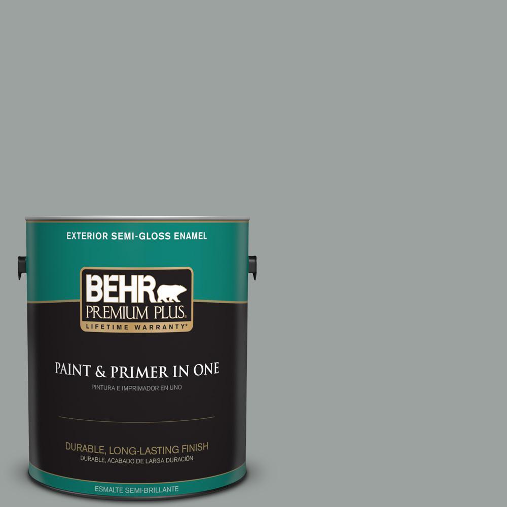 1 gal. #PPU11-16 Brampton Gray Semi-Gloss Enamel Exterior Paint