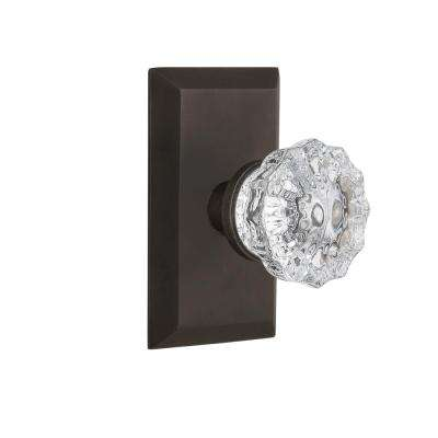 Studio Plate 2-3/8 in. Backset Oil-Rubbed Bronze Privacy Bed/Bath Crystal Glass Door Knob