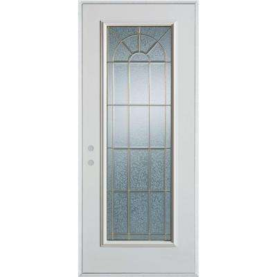 36 in. x 80 in. Geometric Brass Full Lite Painted White Right-Hand Inswing Steel Prehung Front Door