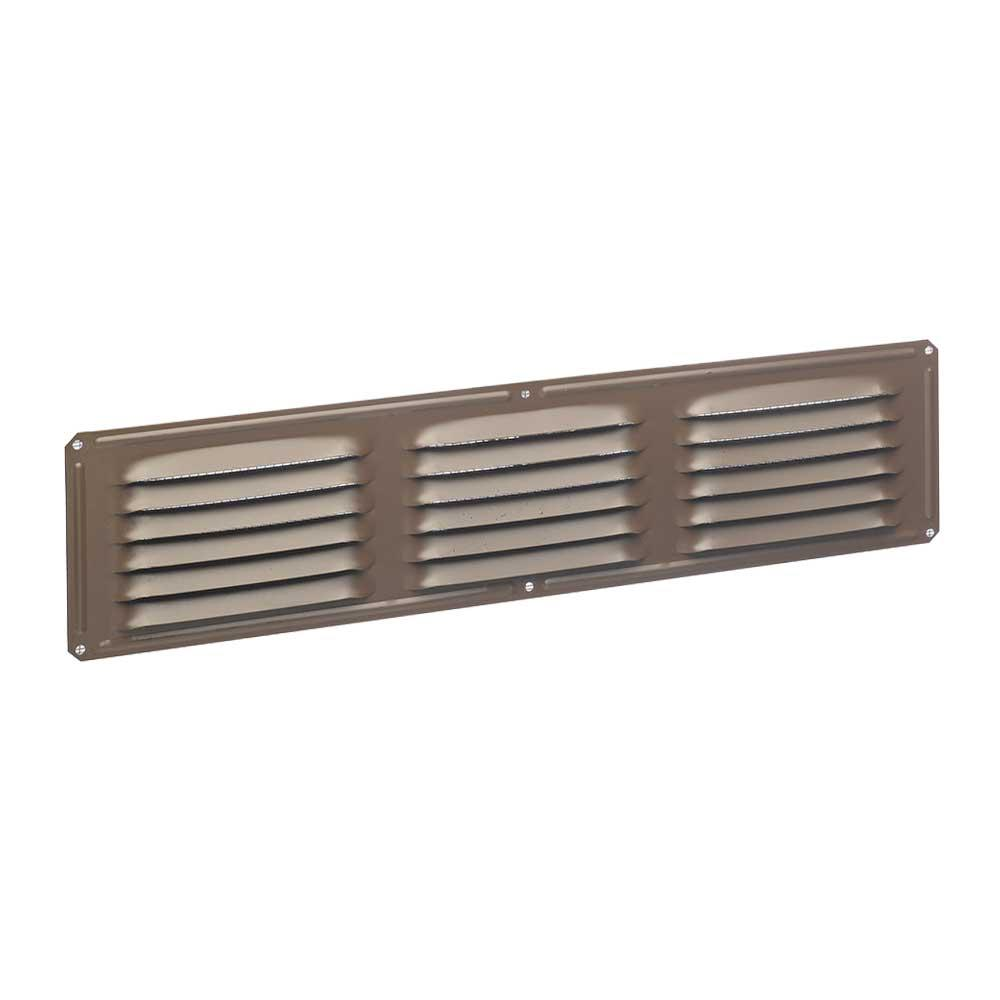 16 in. x 4 in. Aluminum Louvered Soffit Vent in Brown