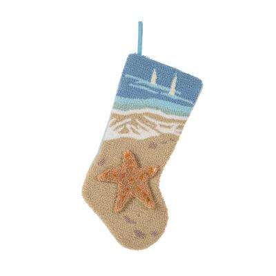 19 in. L Hooked Stocking, 3D Starfish