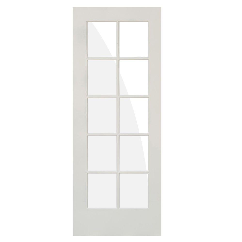 32 in. x 80 in. Shaker 10-Lite Primed Right-Hand Low-E Glass