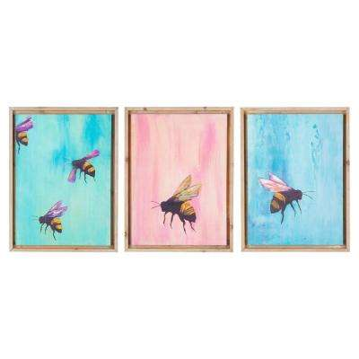 Flying Bees by Unknown Author Framed Canvas Wall Art (Set of 3)
