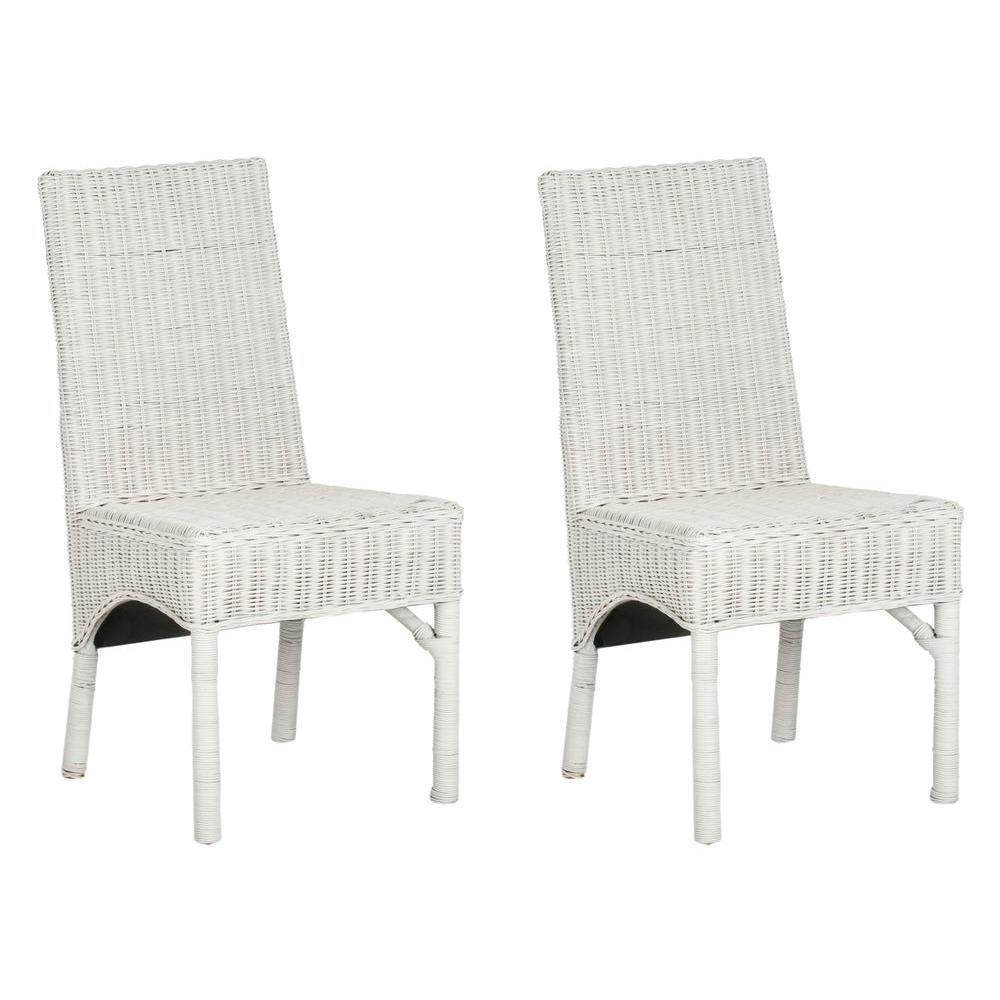 Safavieh Sommerset White Rattan Side Chair