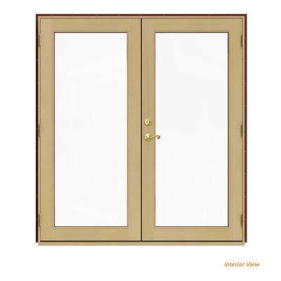 72 in. x 80 in. W-2500 Red Clad Wood Left-Hand Full Lite French Patio Door w/Unfinished Interior
