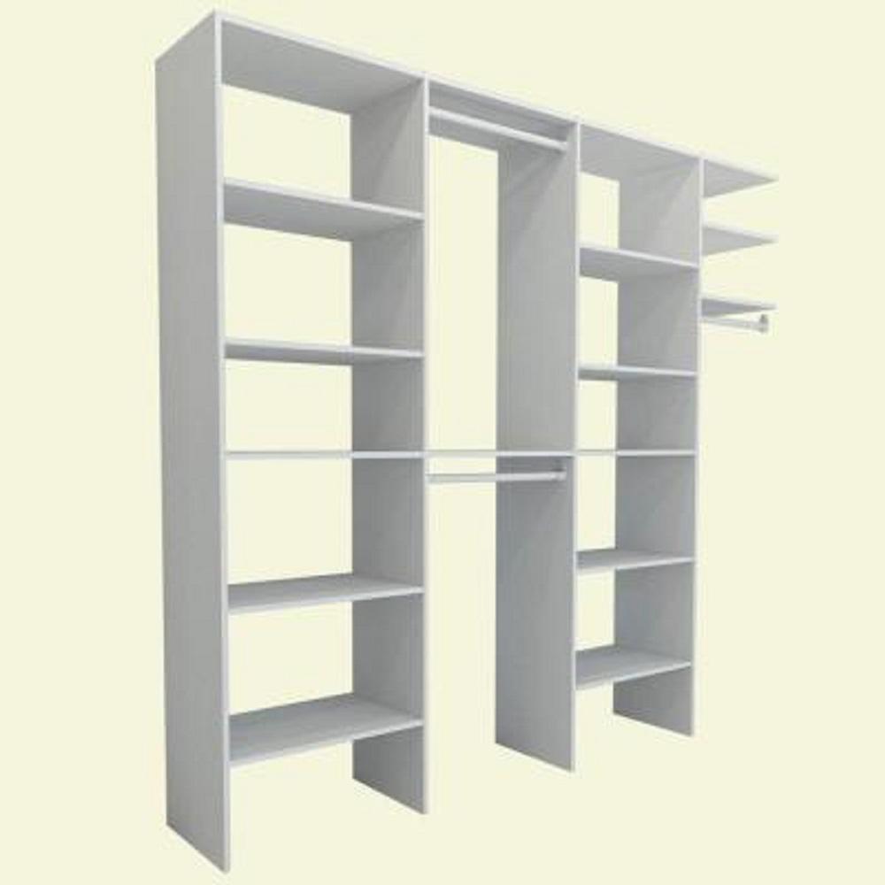 8 ft. to 12 ft. 15 in. D x 146 in. W x 82.5 in. H White Entry Wood Closet System