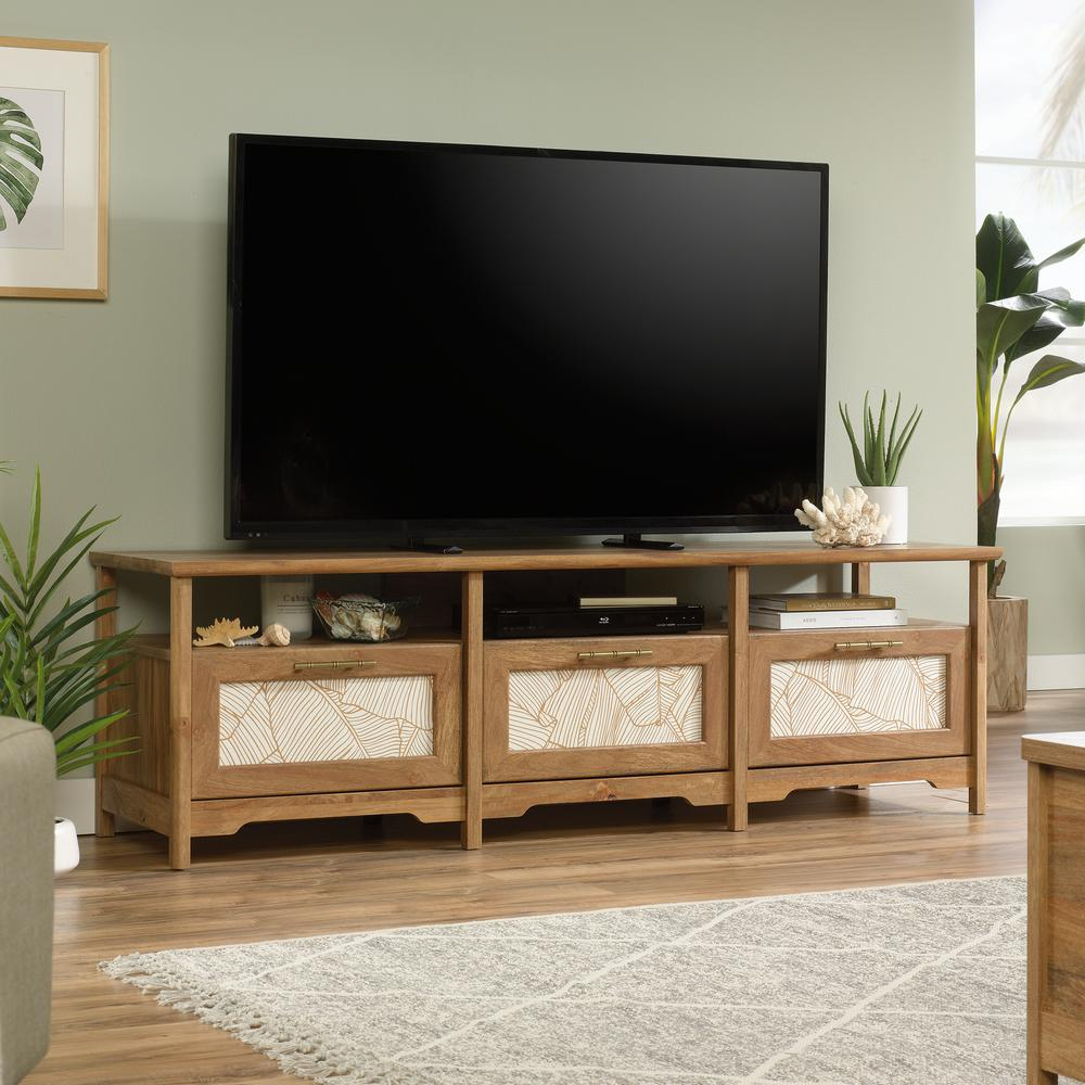 SAUDER Coral Cape 67 In. Sindoori Mango Composite TV Stand