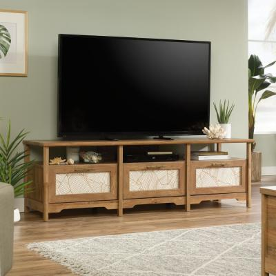 Coral Cape 67 in. Sindoori Mango Composite TV Console with 3 Drawer Fits TVs Up to 70 in. with Cable Management