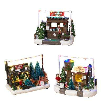 7.6 in. H Assorted Holiday Shops (Set of 3)