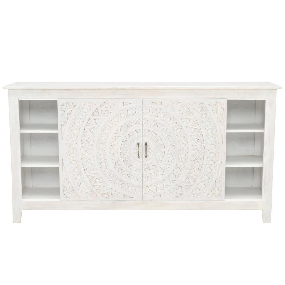 Home Decorators Collection Chennai White Wash Storage Entertainment Center