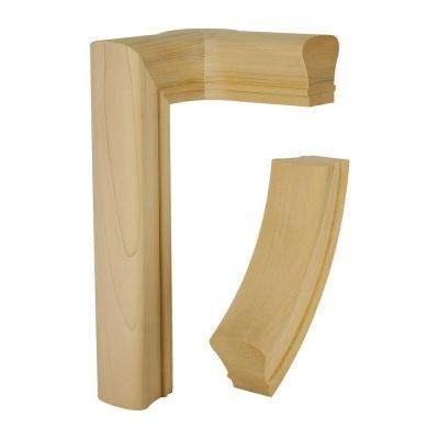 7086 Unfinished Red Oak 2-Rise Right-Hand Level Quarter Turn with Cap
