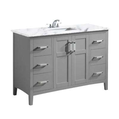 Winston 48 in. Bath Vanity in Warm Grey with Marble Extra Thick Vanity Top in Bombay White with White Basin