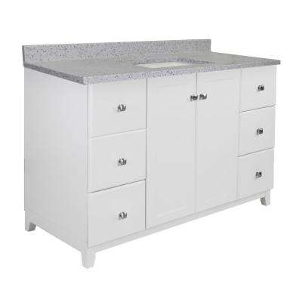 48 in. x 21 in. x 33 in. Bath Vanity in White w/ 4 in. Centerset CM Moonscape Grey Vanity Top w/ White Basin